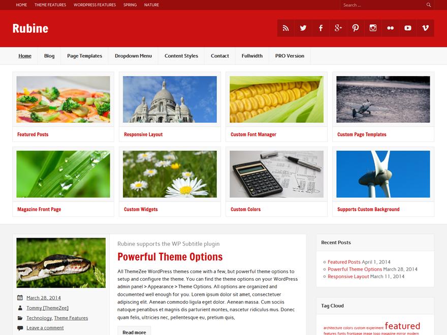 WordPress Theme Rubine Lite